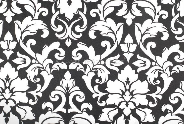 Papel de parede black white 2 arabesco preto branco bw28722 for Papel de pared negro