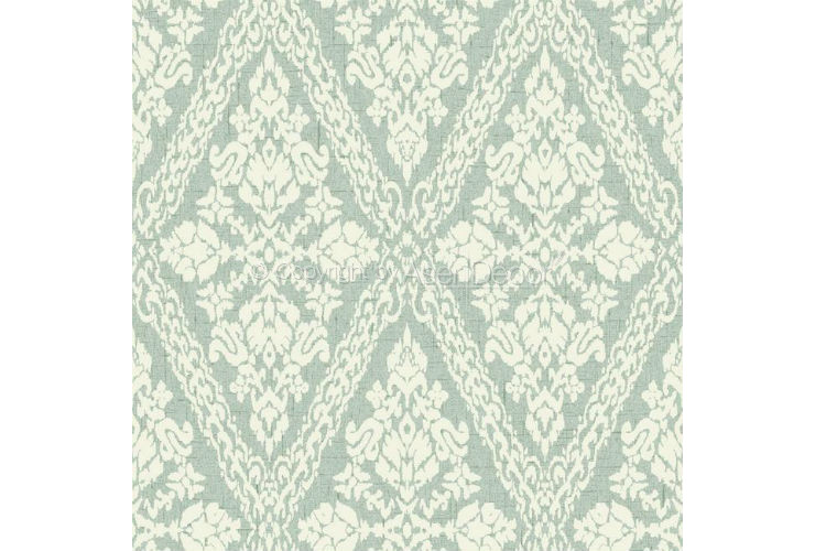 Papel de Parede Stockbridge Square Arabescos YW1448 Verde Off White
