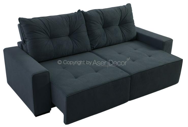 Sofá Retrátil Reclinável Mafort 3 Lugares Veludo Cinza Escuro Sala
