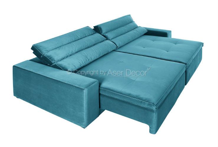 Sofa Retratil Reclinavel Sions 3 Lugares Veludo Brilho Creme Sala