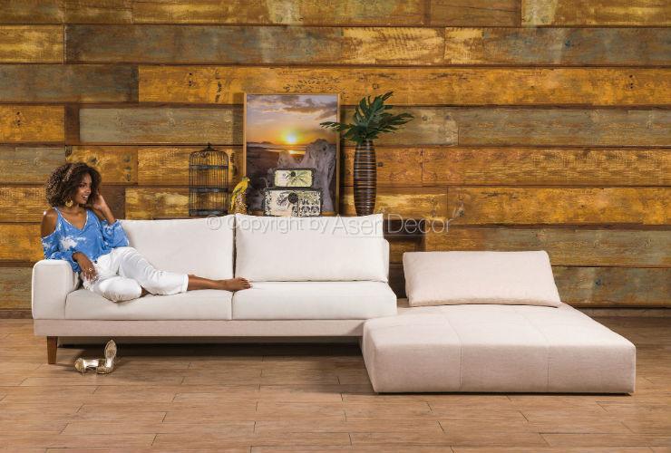 Sofá Abklib Luxo Chaise Long Linho Off White Sala