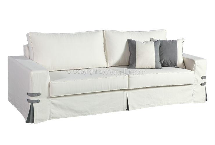 Sofá Living Capa Dinnai 3 Lugares Fixo Sarja Branco Sala de Estar Visita