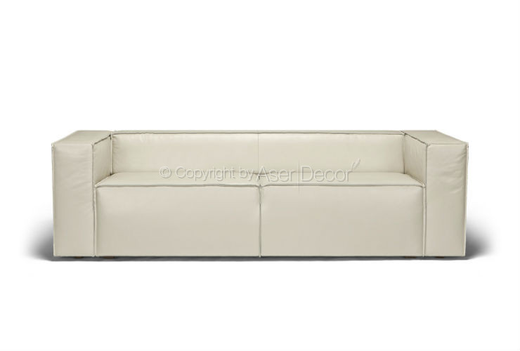 Sofa Cama Couro Dersseb Couro Off White Luxo Sala
