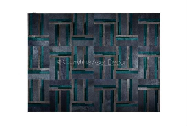 Tapete Argo Couro Cinza Azul Geométrico Sala Quarto