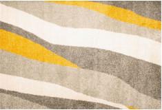 Tapete Abstrato Chughen Amarelo Cinza Nylon 10mm Sala Quarto