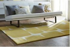 Tapete Abstrato Drinxam Amarelo Branco Nylon 10mm Sala Quarto