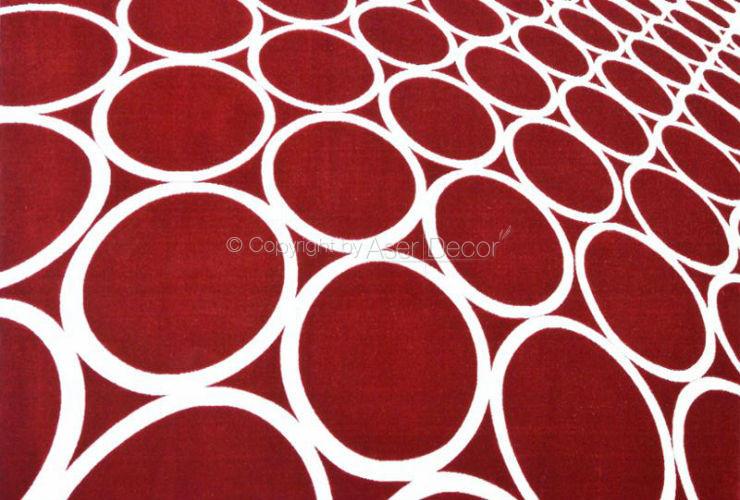 Tapete 3D Bolas Tikland Vermelho Branco Nylon 10mm Sala Quarto