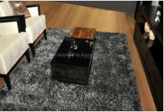 Tapete Besond Luxus Shaggy Mesclado 40mm Cinza Preto Sala Home