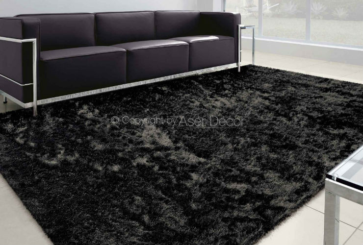 Tapete Besond Luxus Shaggy Luxo 40mm Preto Sala Estar
