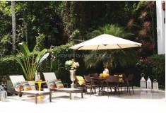 Ombrelone AG05 Lateral Redondo 3,3m Alumínio Creme Jardim