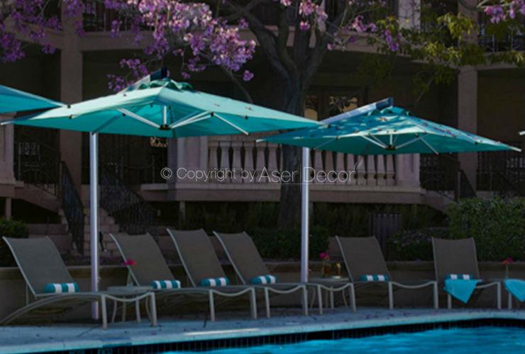 Ombrelone AG46 Shademaker 3,6x3,6m Alumínio Azul Hotéis