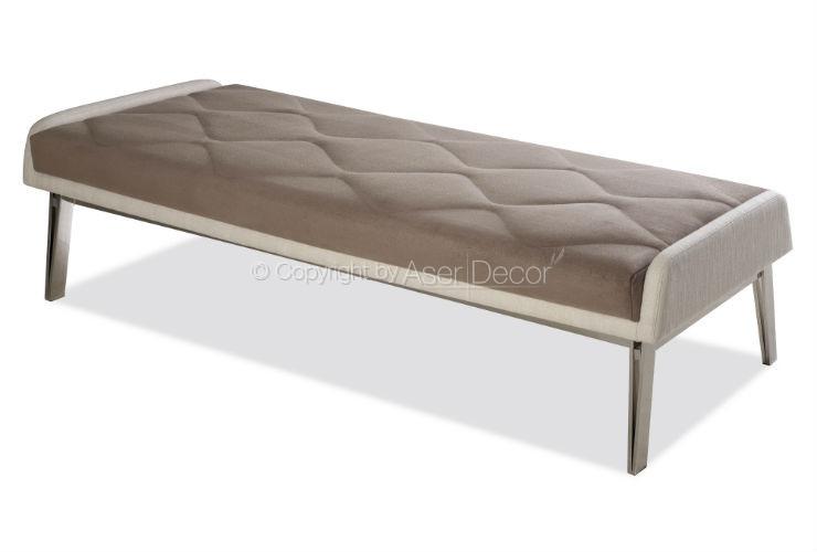 Banco Lewfexu Design Inox Luxo Linho Marrom Sala