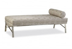 Banco Molaisej Design Inox Luxo Linho Marrom Sala