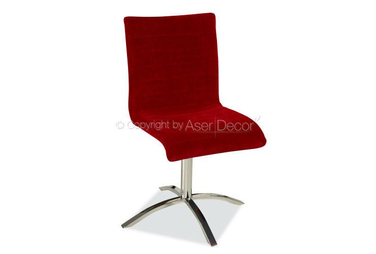 Cadeira Gellinji Giratória Design Veludo Vermelho Sala