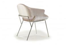 Cadeira Amkiarat Inox Braço Design Veludo Off White Sala