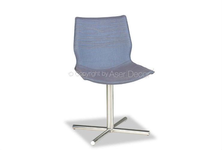 Cadeira Arjotre Inox Design Linho Azul Sala