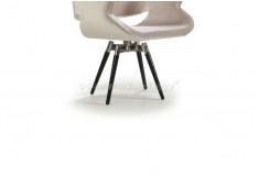 Cadeira Amkiarat Giratória Braço Design Veludo Off White Sala