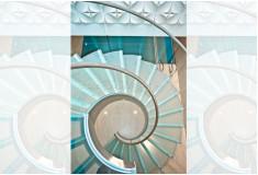Escada Alto Padrão Klettyj Curva Aço Inox Vidro Prata