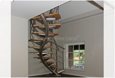 Escada Aço Inox Osdrequi Curva Madeira Prata