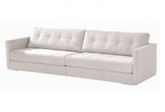 Sofá Gloan Living 3 Lugares Fixo Sarja Branco Sala de Estar Visita