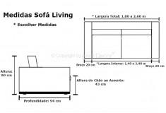 Sofá Sala Fixo Kross 2 Lugares Linho Marrom Confortável