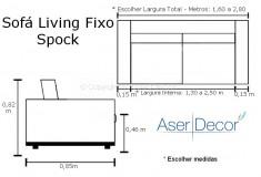 Sofá Living Spock 3 Lugares Fixo Veludo Bege Sala de Estar