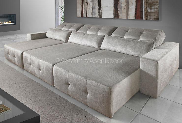 Sof xaminx retr til reclin vel veludo marrom 3 lugares sala home Modelos de sofas para salas