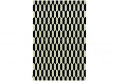 Tapete Fígaro Couro Preto Branco Geométrico Sala Quarto