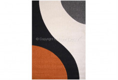 Tapete Abstrato Curflow Laranja Preto Nylon 10mm Sala Quarto