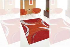Tapete Abstrato Lanvron Laranja Vermelho Nylon 10mm Sala Quarto