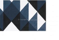 Tapete Pluytrew Geométrico Nylon 10mm Azul Preto Sala