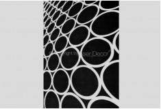 Tapete 3D Bolas Tikland Preto Branco Nylon 10mm Sala Quarto