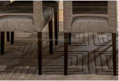 Tapete Tralseink Esculpido Nylon 10mm Marrom Sala Jantar