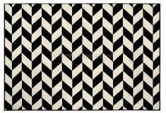 Tapete Sarja Geométrico Black White Polipropileno 10mm Preto Branco