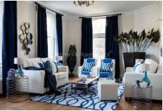 Cortina Azul Tecido Sala Moderna Devvim