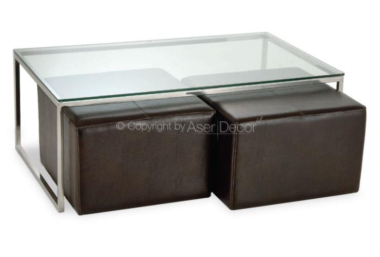 Mesa de Centro Banwur Puffs Couro Vidro Inox Sala