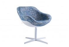 Poltrona Minyan Azulejo Português Design Linho Azul Sala