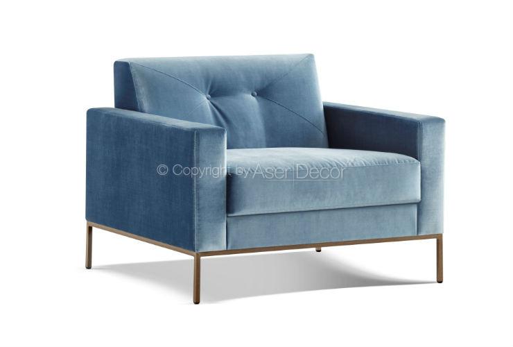 Poltrona Pelpple Estofadas Veludo Azul Sala