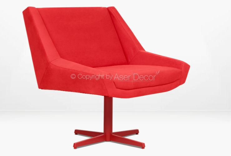 Poltrona Ângulo Giratória Design Sarja Vermelho Sala