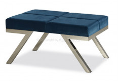 Puff Puitroew Inox Luxo Desing Veludo Azul Sala