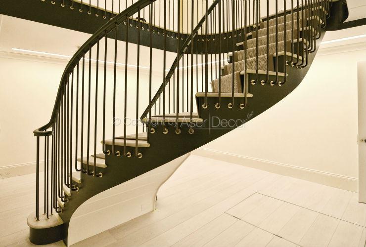 Escada Balustrada Higbret Curva Metal Nobre Preto